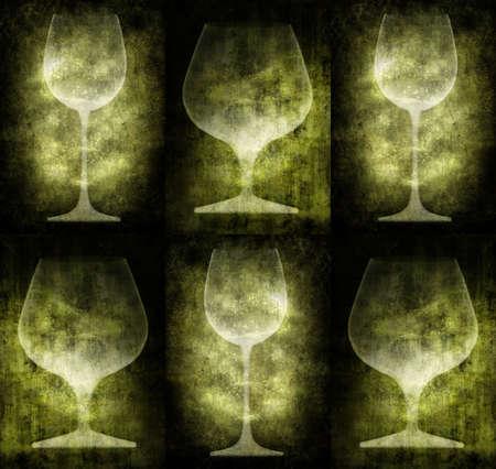 Grunge illustration with glasses, vintage stylized Stock Illustration - 3227536