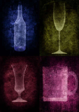Grunge illustration with bottle and glasses, vintage stylized Stock Illustration - 3227538