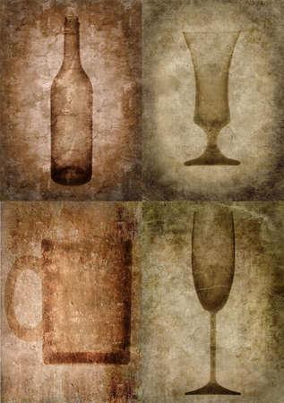 Grunge illustration with bottle and glasses, vintage stylized Stock Illustration - 3227546
