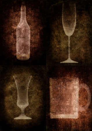 Grunge illustration with bottle and glasses, vintage stylized Stock Illustration - 3227543