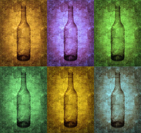 Grunge bottles illustration, vintage stylized Stock Illustration - 3227545