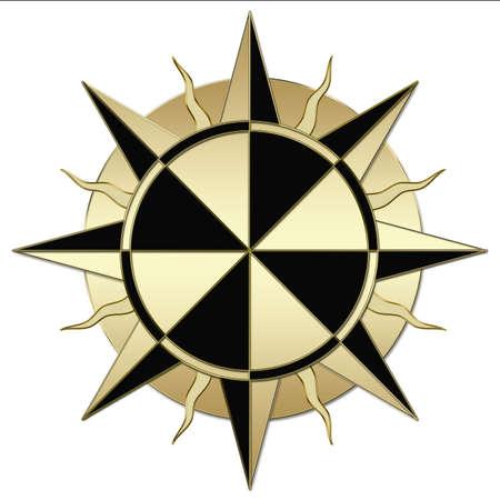 northwest: A windrose, compass golden illustration