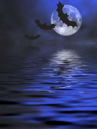 drakula: Bats flying over the water