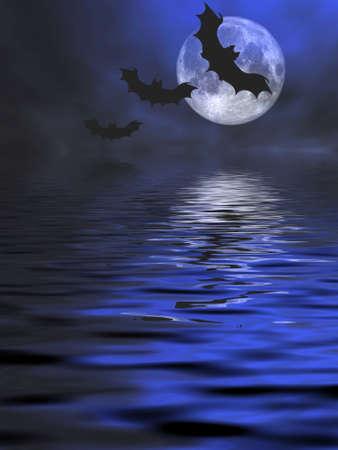 drakula: Bats flying over the water