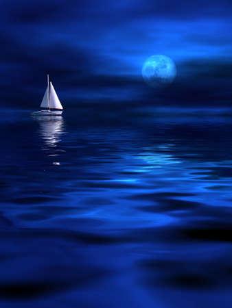 Lonely bateau au clair de lune Banque d'images