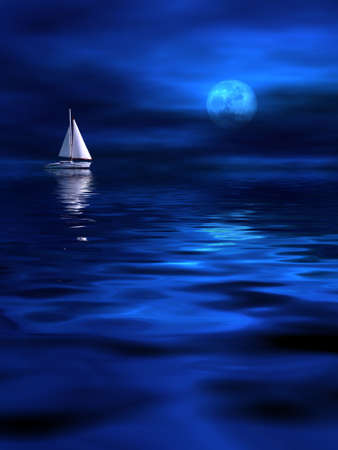 Lonely ship in the moonlight