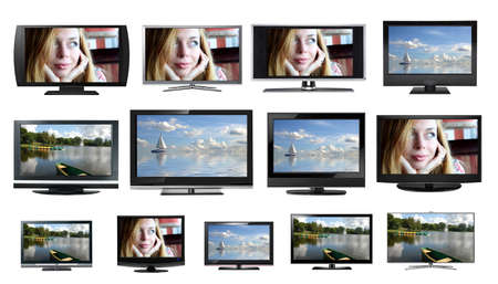 flat panel: TV displays  monitors, different models and sizes Stock Photo