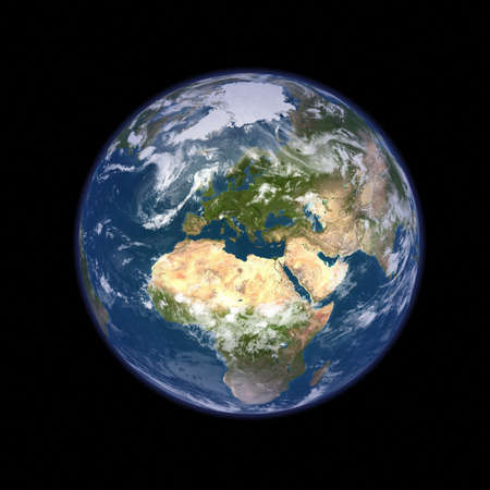 asia globe: Big size real looking Earth planet Stock Photo