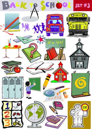 Vector regreso a la escuela relacionada con clip-arts colección Ilustración de vector