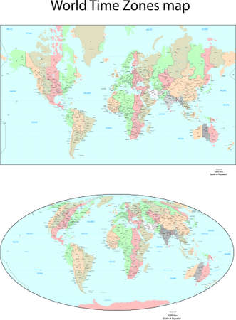 Vector World Time Zones map Stock Vector - 14940622