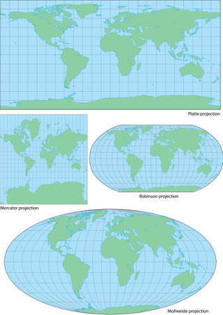 Vector world contour map in four projections  plate, Mercator, Robinson and Mollweide