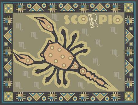 Stylized horoscope background with Zodiac signs
