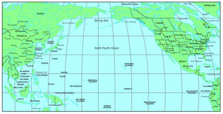 Map North Pacific Ocean Sea Maps Series: North Pacific Ocean Stock Photo, Picture And