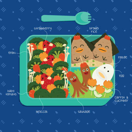 Healthy bento box with vegetable art. Featuring mice in a forest, brown rice onigiri chicks, character sausages and eggs. Vettoriali