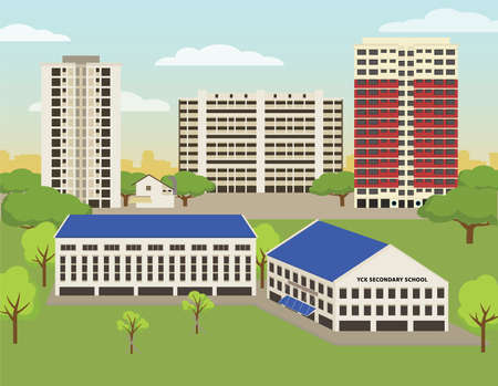 Generic public flats in Singapore from the 70s, 80s, 90s. School in foreground.