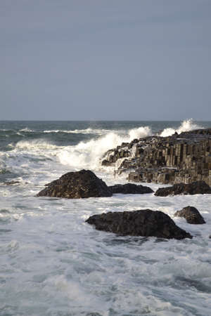 White Sea Spray on Black Rocks - Ireland 02