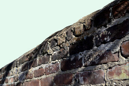 Brick Wall  Fence -top angled in perspective-white bkgrnd