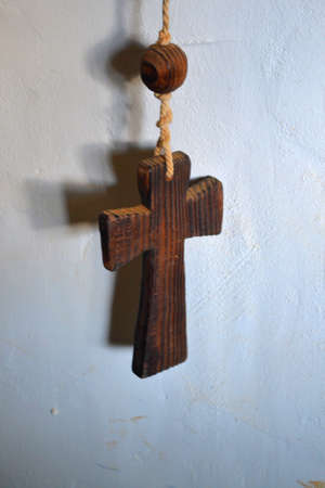deliverance: Old Wood Rosary-Cross Stock Photo