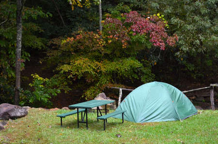 roughing: Camping--Green Dome Tent, nice location-0 Stock Photo