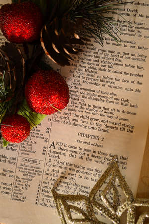 Christmas  Bible opened to the story and decorated.