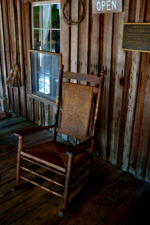 front porch: Old Rocking Chair on the Front Porch! Stock Photo