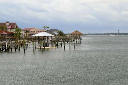 inlet bay: Docks on a Florida Bay Stock Photo
