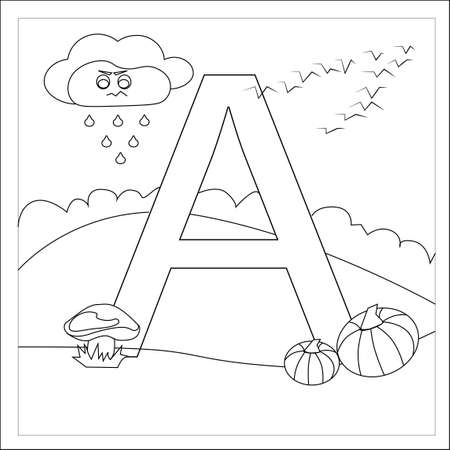 Childrens letter coloring book. The letter a