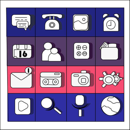 network web icons set in color vektor