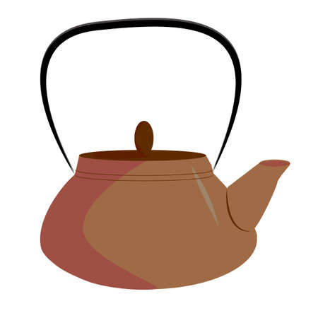 Kettle boils icon in a flat style. The concept boils head the newcomer. vector illustration in cartoon style 向量圖像