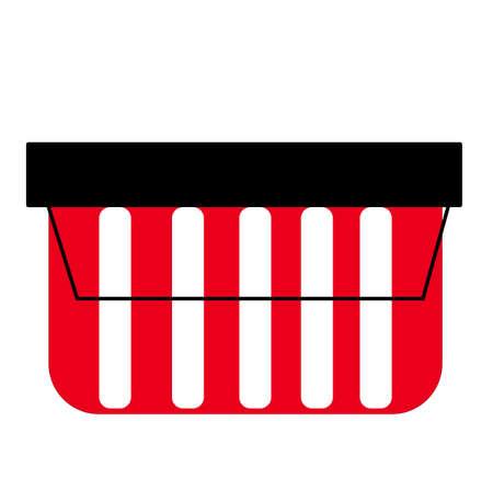 Empty red shopping basket isolated on white background. Supermarket basket. Shopping basket icon. Vector illustration