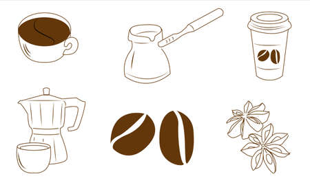 Coffee set on a white background,isolated in eps 10 format.