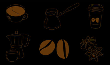 Coffee set on a black background, isolated in eps 10 format.