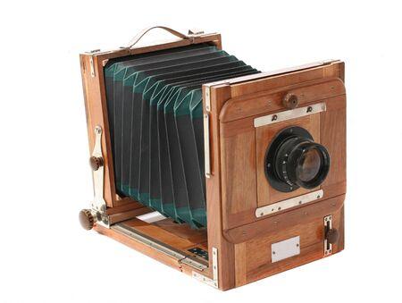 Aging vintage soviet mechanische, studio's, groot formaat camera Stockfoto