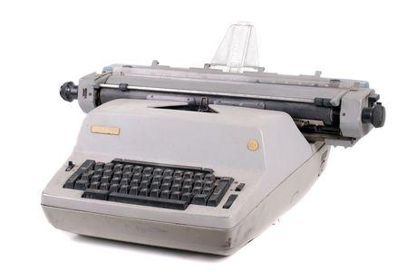 typist: Old antique mechanical vintage cyrillic typewriter