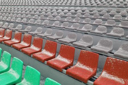 Spectators seats at a stadium photo