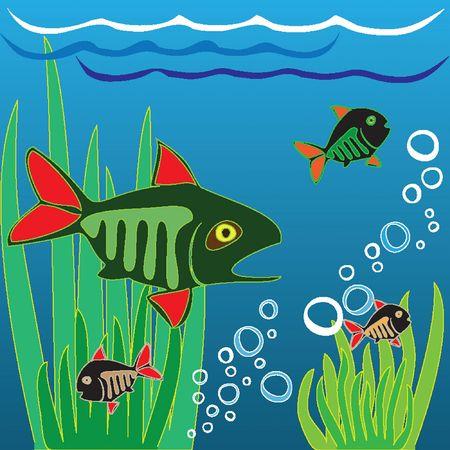 Fishing. Fisher. Fish. In the aquarium. Vector