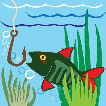 Fishing. Fisher. Fish.  Fishing on the Lake Vector
