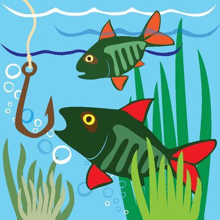 aquarium hobby: Fishing. Fisher. Fish. IFishing on the Lake Illustration