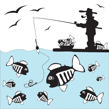 Fisher. Vis. Ijs vissen op de kust  Stock Illustratie