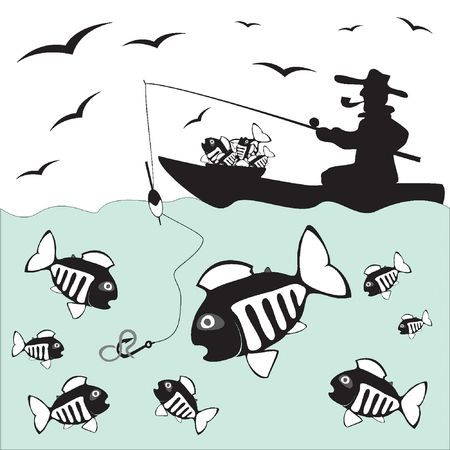 Fisher. Fish. Fishing on the Boat Vector