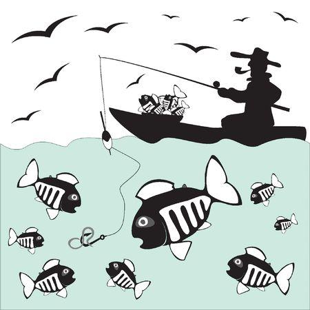 ice fishing: Fisher. Pescado. Pesca en el barco