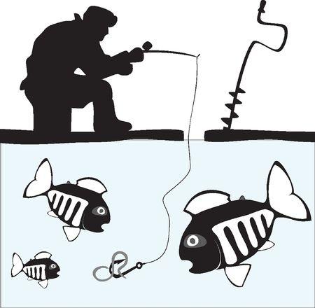 어업. 어부. 물고기. 호수에서의 얼음 낚시