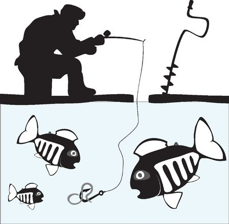 cartoon fishing: Fishing. Fisher. Fish. Ice Fishing on the Lake