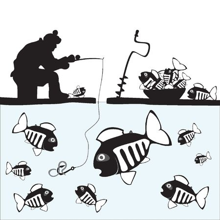 fisch eis: Angeln. Fisher. Fisch. Eis Angeln auf dem See