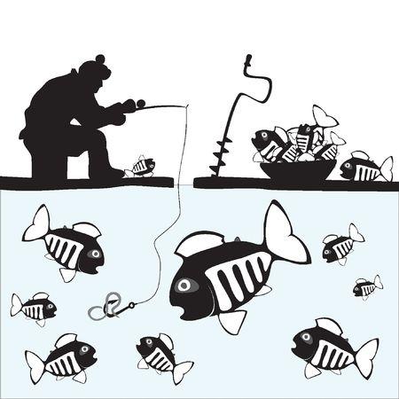 Fishing. Fisher. Fish. Ice Fishing on the Lake Vector