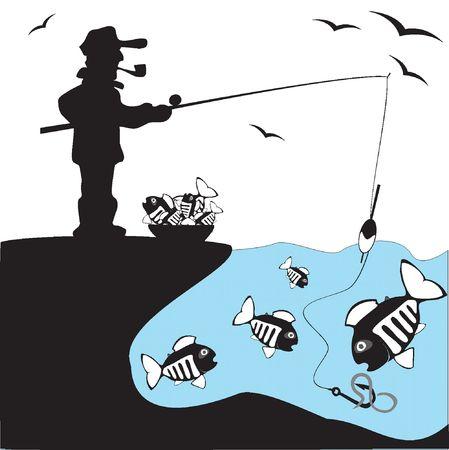 Fisher. Vis. Ijs vissen op het meer  Stock Illustratie