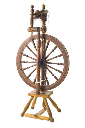 spindle: Old antique vintage traditional spinning-wheel,a distaff of the 19th century isolated on white background. Russia.