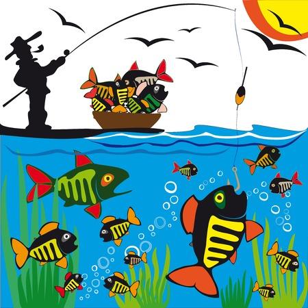어업. 낚시. 물고기.
