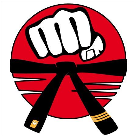 MARTIAL ARTS ORIGINAL EMBLEM, LOGO.Fist and black belt Illustration