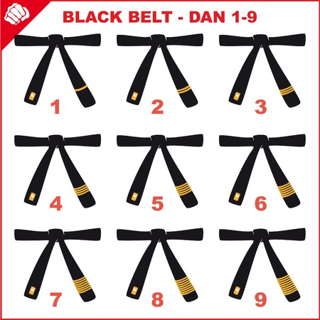 BLAK  BELTS-MARTIAL ARTS ORIGINAL SET Vector